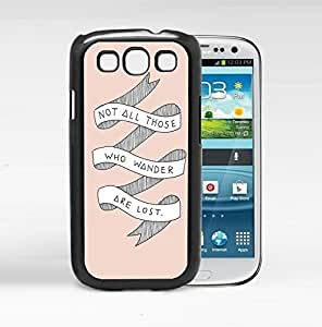 Not All Those Who Wander Are Lost Life Quote With White Ribbon And Pink Background Samsung Galaxy S3 I9300 Hard Snap on Plastic Cell Phone Cover