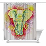 InterestPrint Vintage Africa Elephants Painting Home Decor Waterproof Polyester Bathroom Shower Curtain Bath with Hooks, 72(Wide) x 84(Height) Inches