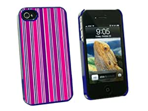 Graphics and More Sweet Pink Stripes - Snap On Hard Protective Case for Apple iPhone 4 4S - Blue - Carrying Case - Non-Retail Packaging - Blue