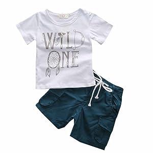 Kids Tales Little Boys Letter print T-shirt+Pants Outfits Clothing Sets