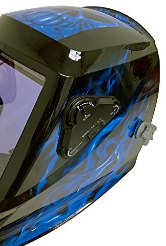 Instapark ADF Series GX990T Solar Powered Auto Darkening Welding Helmet with 4 Optical Sensors, 3.94'' X 3.86'' Viewing Area and Adjustable Shade Range #5 - #13 Bluish Devil by Instapark (Image #2)