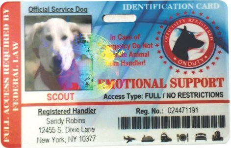 Emotional Service Dog Horizontal Badge ID