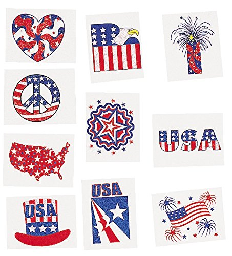 - Fun Express Glitter Patriotic Temporary Tattoos (18 dz)