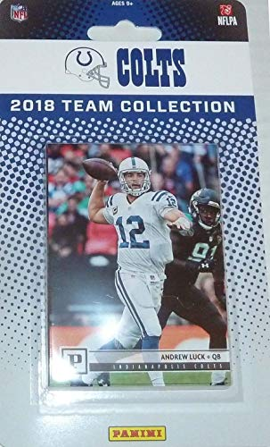 Indianapolis Colts 2018 Panini Factory Sealed NFL Football Complete Mint 10 Card Team Set with Andrew Luck, Adam Vinatieri, Deon Cain Rookie plus