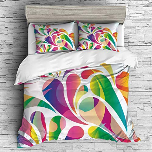 ver 2 Pillow Shams)/All Seasons/Home Comforter Bedding Sets Duvet Cover Sets for Adult Kids/Double/Modern,Colorful Leaf Shaped Vivid Trippy Forms Spring Summer Themed Artful Curved ()