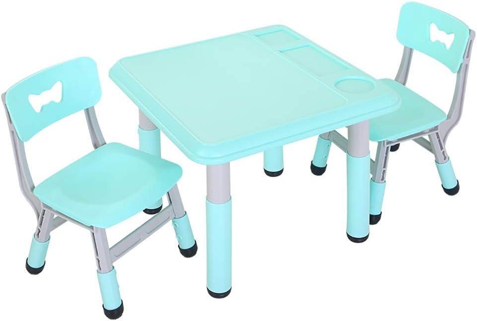 Yyqt Actividad niños Juego de Mesa, 1-8 años Inicio Muebles de plástico Mesa de Estudio y Silla de Altura Ajustable for niños for niños Niños Niños y Niñas (Color : Green, Size :