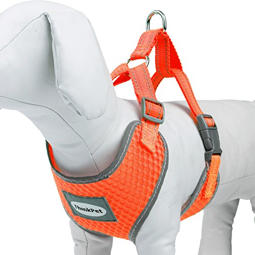 ThinkPet Reflective Breathable Soft Air Mesh No Pull Puppy Dog Vest Harness Neon Orange Neck 19-23.5