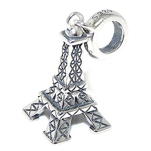 PJEWELRY 925 Solid Sterling Silver Dangling Eiffel Tower Charm Bead (Sterling Silver Tower)