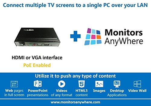 Monitors AnyWhere - Display your content on multiple monitors using a single PC! HDMI over LAN, Video Extender, Thin Global MiniPoint Ethernet PoE by Monitors AnyWhere PoE
