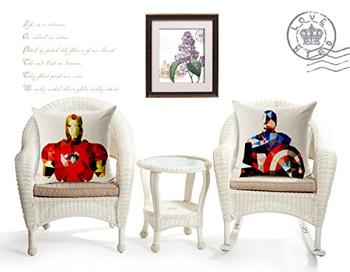 Chicozy Cotton Avengers Alliance Batman Captain America Iron Man Hulk Pillow Cover Ikia Style Sofa Cushion Cover Square Home Decration Pillowcase 17.7inch x 17.7inch(2PC) by Chicozy (Image #4)