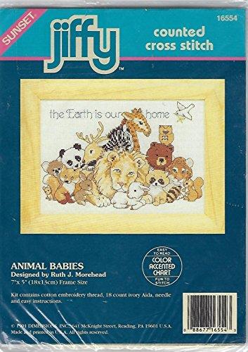 Jiffy Counted Stitch Cross Kit (Jiffy-Counted Cross Stitch- Animal Babies)