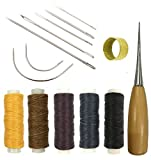 Arts & Crafts : Leather Craft Tools Curved Upholstery Carpet Canvas Hand Sewing Needles with Leather Waxed Thread Cord and Drilling Awl and Thimble for Leather Repair Basic Leather Tools, 14 Pieces