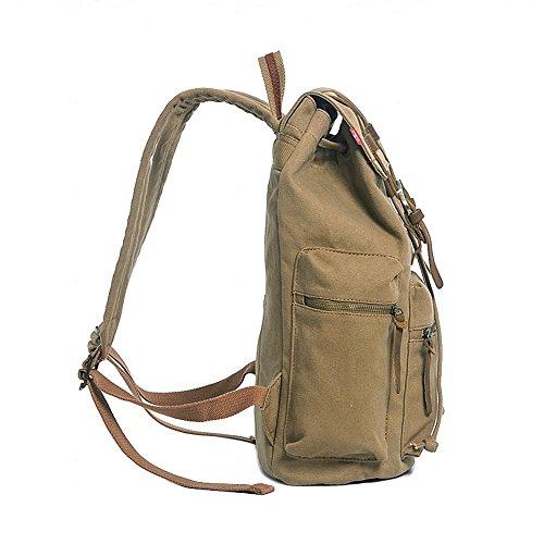 Rucksack Canvas Augur Backpack Women VDSL for Leather Backpack Canvas Laptop KU Series A Daypacks Backpack Men P Brown Vintage Casual qYxZad0w
