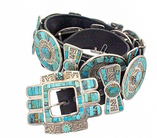 Hank Whitethorne, Concho Belt, Turquoise, Navajo Handmade, 17 Pieces ()