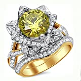 Smjewels 2.50 Ct Yellow Round Sim.Diamond Lotus Flower Engagement Ring Set 14K Yellow Gold Fn