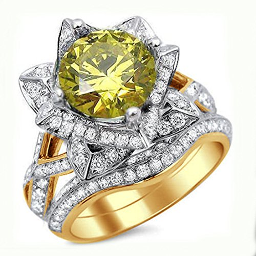 Smjewels 2.50 Ct Yellow Round Sim.Diamond Lotus Flower Engagement Ring Set 14K Yellow Gold Fn by Smjewels