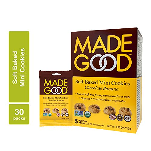 MadeGood Chocolate Banana Soft Baked Mini Cookies, 6 boxes (30 ct); Deliciously Moist, Chewy, Snack-Sized Cookies are Allergy-Friendly, Organic, Nut-Free, Gluten-Free, Vegan, Verified Non-GMO