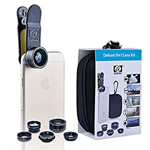 Apexel 5 in 1 HD Camera Lens Kit 198° Fisheye Lens/0.63x Wide Angle/15x Macro Lens/2X Telephoto Lens/CPL Lens for iPhone 6/6s Plus SE Samsung Galaxy S7/S7 Edge S6/S6 Edge and most Smartphone