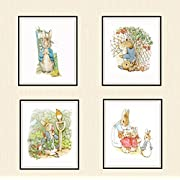 Set of 4 Beatrix Potter Art Print Reproductions, Unframed Peter Rabbit Collection Prints, Nursery Baby Prints, Shower Gift 8 x 10