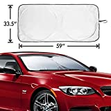 Car Windshield Sunshade Folding Front Car Window Sun Shade, Metacrafter Blocks UV Rays Sun Visor Protector Pop Up Style Fit for Vans SUVs and Trucks Automotive Shade 59 ''x33''