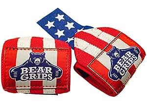 "Bear Grips: Wrist Wraps, Best Wrist Support, Wrist Brace, Crossfit Wrist Wraps, Weight Lifting Wrist Wraps & Wrist Straps for Gym, Workouts, Wods, Powerlifting. 12"" American Flag: Red W/White Stripes"
