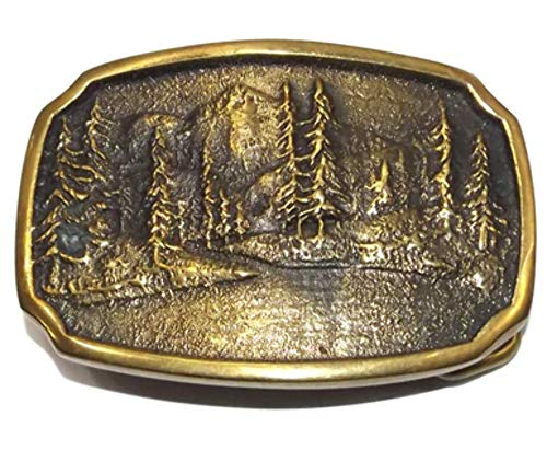 Vintage Brass BTS Embossed Mountain Lake Forest Scene Belt Buckle (Scene Buckle)