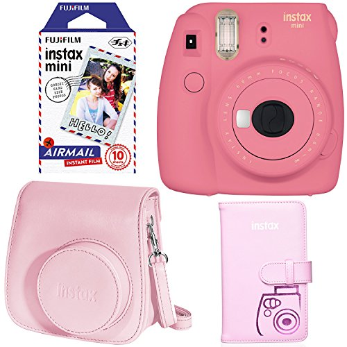 Fujifilm Instax Mini 9 Instant Camera - Flamingo Pink, Fujifilm Instax Mini Airmail Film, Fujifilm INSTAX WALLET ALBUM PINK and Fujifilm Instax Groovy Camera Case - Pink