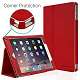 iPad Air 2 Case, [CORNER PROTECTION] CaseCrown Bold Standby Pro (Red) with Sleep / Wake & Multi-Angle Viewing Stand