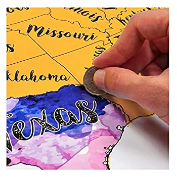 Scratch Off United States Map Travel Watercolor by McScout Maps | Mark Your Travels USA for Travelers | Educational & Colorful Decorative Art 17X24 Inch Poster Wall