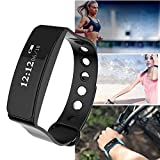 Fitness Tracker HR, Iuhan Activity Tracker Watch with Heart Rate Monitor, Blood Pressure Smart Fitness Band with Step Counter, Calorie Counter, Pedometer Watch for Kids Women and Men (Black)