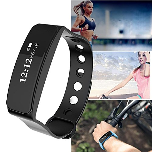 Fitness Tracker HR, Iuhan Activity Tracker Watch with Heart Rate Monitor, Blood Pressure Smart Fitness Band with Step Counter, Calorie Counter, Pedometer Watch for Kids Women and Men (Black) by Iuhan