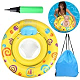 OWUDE Baby Swimming Ring with Seat, Safety Swim Floater for Infant Round Inflatable, Yellow, 6-36 Months