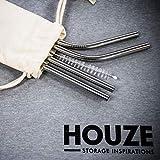 HOUZE Stainless Steel Straw Set of 4, Steel