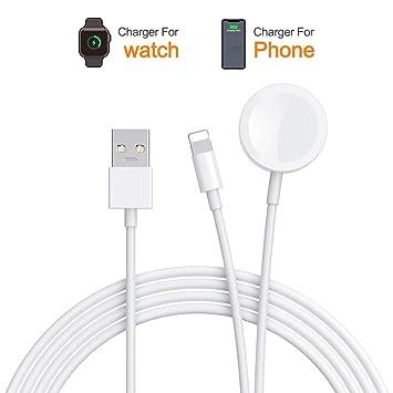 Cargador de reloj y cargador de teléfono,Cargador inalámbrico portátil 2 en 1,Cable de carga magnética Compatible para Watch Series 4/3/2/1 and Phone ...