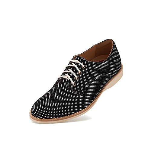 Rollie Women's Derby Black Dream, Polka Dot Leather Oxfords Black Flat Shoes for Women with Laces, Size 6 US / 37 EU