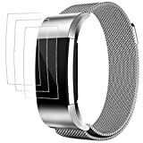 Band with Screen Protectors for Fitbit Charge 2, AFUNTA 3 Pack Anti-scratch TPU Protective Films, with 1 Magnetic Stainless Steel Wristband Bracelet 5.5