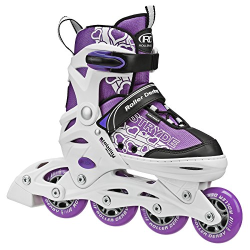 Roller Derby Stryde Girl's Adjustable Inline Skates, Medium (2-5), White/Purple