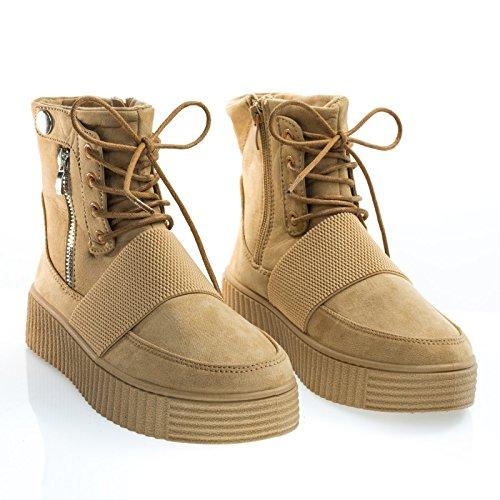 Geribbelde Structuur Rubberen Sneaker Platte Vorm Lace Up Combat Enkellaarsje Tan