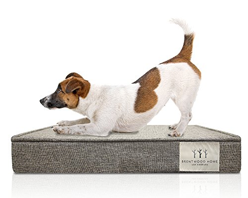 Brentwood Home Griffith Pet Bed, Orthopedic Gel Memory Foam, Made in California, Checkered Grey, Large