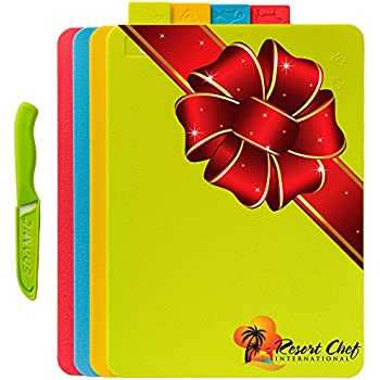 Resort Chef Cutting Board Set of 4 Reversible Boards w/ Food Icons - BPA Free FDA Approved Materials & Eco Friendly. Best for Food Safety Has Microban Protection. Includes FREE Ceramic Knife! (Medium)