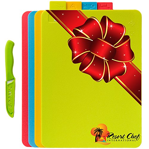 Resort Chef Cutting Board Set of 4 Reversible Boards w/ Food Icons - BPA Free FDA Approved Materials & Eco Friendly. Best for Food Safety Has Microban Protection. Includes FREE Ceramic Knife! (Medium) (Whole Christmas Foods Trees 2017)