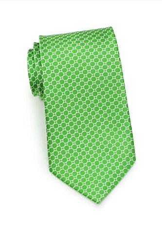 Bows-N-Ties Men's Necktie Geometric Print Silk Satin Tie 3.1 Inches (Kelly Green)