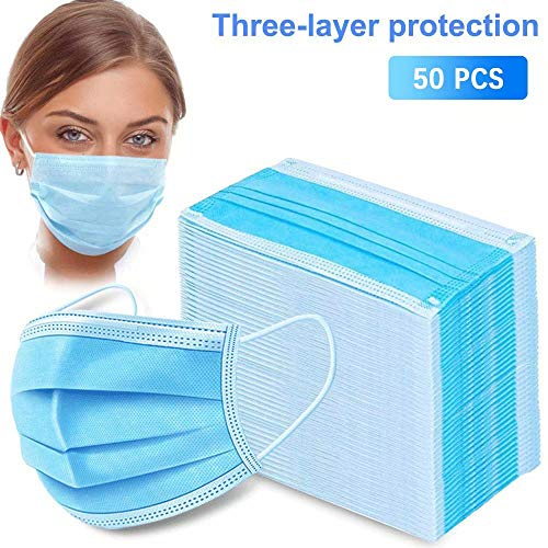 50PCS Protection Disposable Medical Face M-A-S-K-Polypropylene Blue M-A-S-K-S Supplied in Sealed Bag-Comfortable Breathable 3 Layer Medical M-A-S-K-S