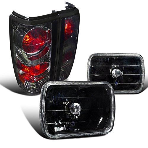 (Chevy S10 Tahoe Blazer GMC S15 7X6 Black Headlights+Smoke Lens Tail Lamps)