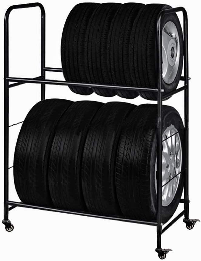 Rolling Tire Rack – Metal, Adjustable, Tire Stand & Protective Cover, Included 4 Adjustable non rolling Legs [Updated 44'' L With 4 Wheels included]