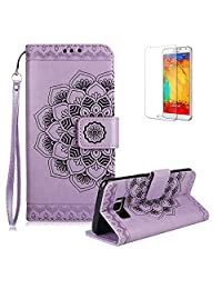 For Samsung Galaxy S8 Plus Case [with Free Screen Protector],Funyye Classic Vintage [Sunflower Flower Pattern] Premium Folio PU Leather Wallet Magnetic Flip Full Protection Holster Case for Samsung Galaxy S8 Plus-Purple