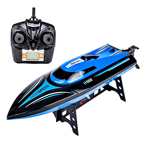 IAMGlobal RC Boat, H100 High Speed Remote Control Boat, 2.4GHz Fast RC Boat, RC Racing Boat with LCD Screen for Pools and Lakes for Outdoor (Blue)
