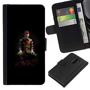 YiPhone /// Tirón de la caja Cartera de cuero con ranuras para tarjetas - DIVERTIDO JOKER COMIDA POR QUÉ TAN FELIZ - LG G3