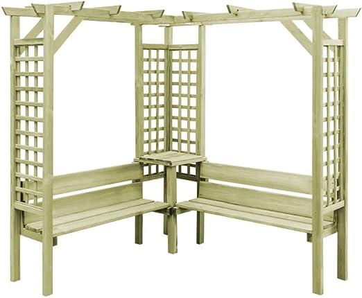 Pérgola de jardín de madera para exteriores, mueble esquinero con ...