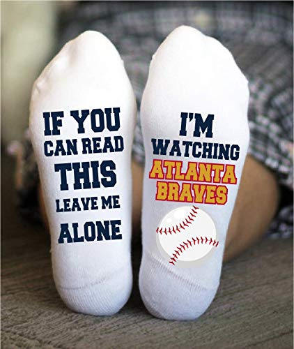 Atlanta Braves Socks Funny Birthday Gifts Baseball Team Him ()